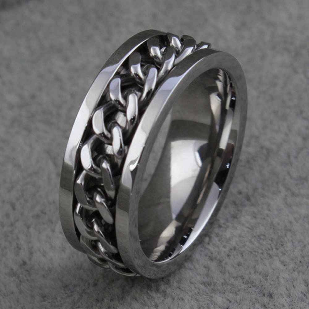 Fashion Men's Ring The Punk Rock Accessories Stainless Steel Black Chain Spinner Rings Sales Best Ring For Man Gift