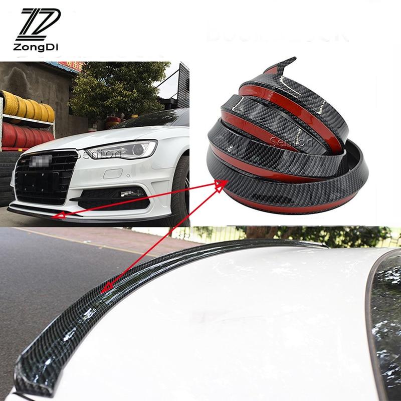 ZD Car Carbon Fiber Bumper Lip Tail Protection Spoilers For Renault Megane 2 3 Duster VW Touran Passat B6 Golf 7 T5 T4 Fiat 500