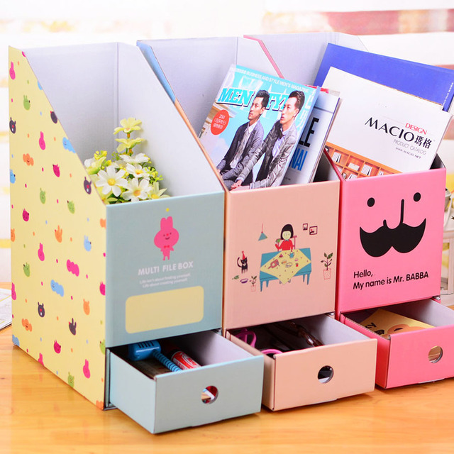 cute diy paper box finishing the desktop storage box korea creative