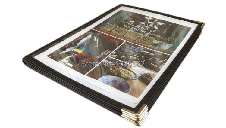 6 Sheets Handmade Plastic PU Leather Menu Cover Clear Plastic Pockets Menu Book