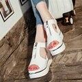 2017 sandálias femininas de salto alto sandálias das Mulheres sandálias de couro oco boca de peixe boca rasa das mulheres calçados Casuais lisos