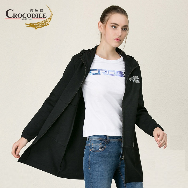 Crocosport Women Sport Jacket Femme Long Coat Ladies Sportwear Women Outdoor Thermal Hooded Clothing Sweater Top slim fit ruffle long sleeved hooded quilted coat for women