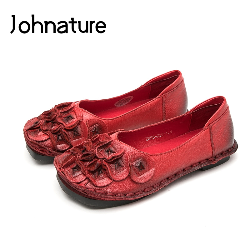 Johnature 2019 New Spring autumn Handmade Loafers Women Genuine Leather Retro Round Toe Appliques Floral Comfortable