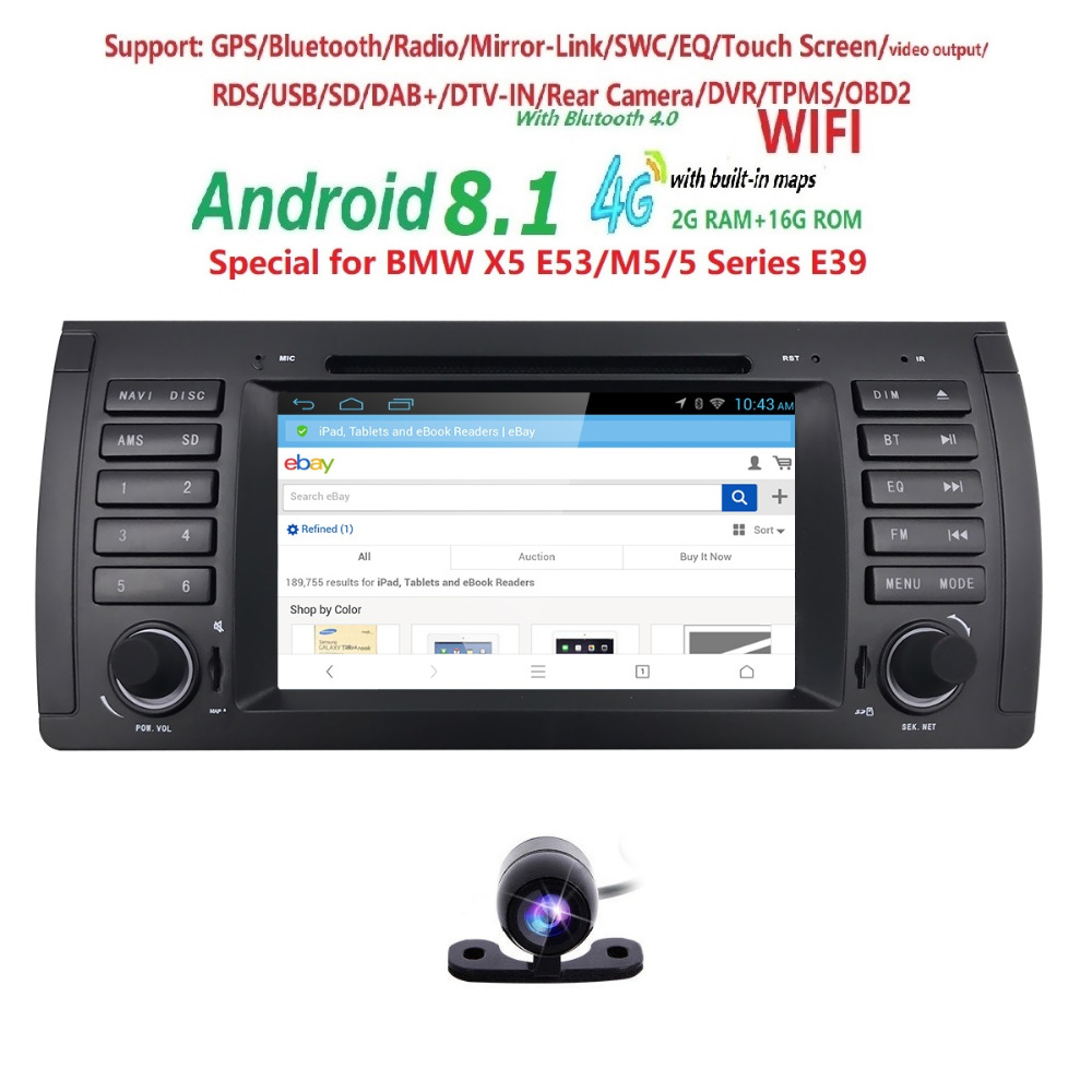 Car DVD Player 7 Quad Cor Android 8 1 for BMW 5 Series E39 X5 E53