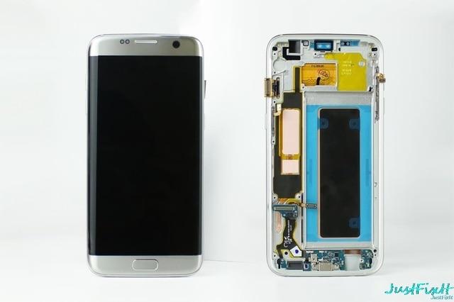 Orijinal süper AMOLED Samsung S7 kenar G935F G935fd Burn in gölge Lcd ekran dokunmatik ekran Digitizer çerçeve ile 5.5