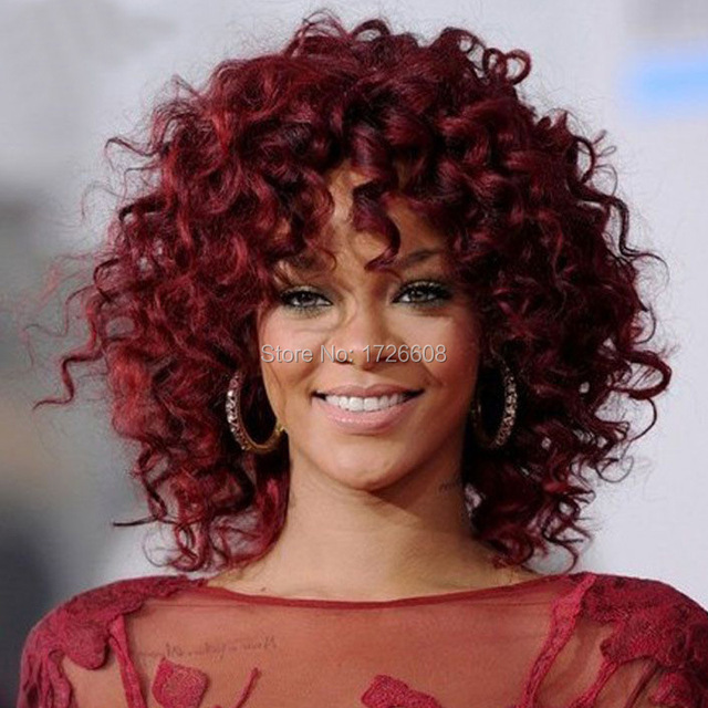 2016 Rihanna Hairstyle Wigs Red Wine Color Pin Curl Perm