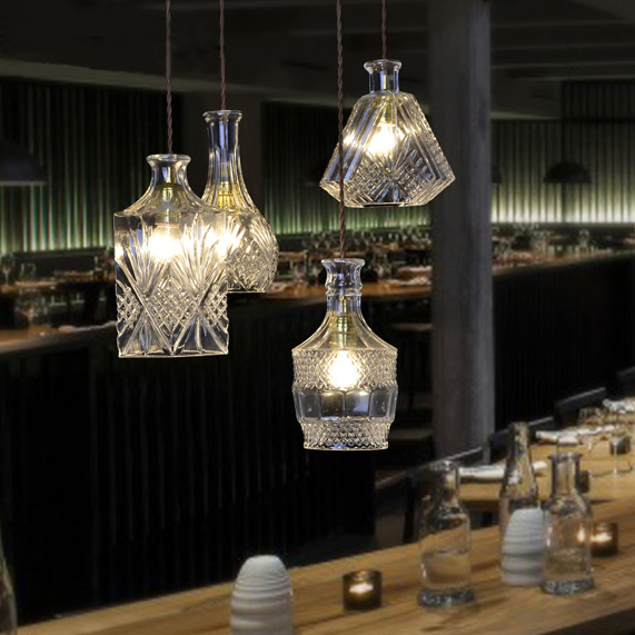 Modern Glass Bottles Single Droplights Nordic Wine Bottle Pendant Lights Fixture Home Indoor Dining Room Cafes Pub Bar Hang Lamp professional glass bottle cutter wine bottle cutting tools glass tool high quality home household accessories