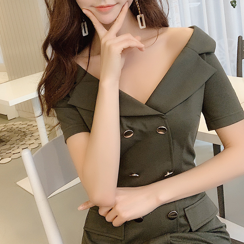 Dabuwawa Women Elegant Turn down Collar Dress 2019 New Summer Office Lady Double Breasted Button Slim