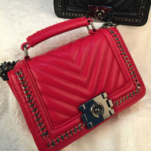 2016 new arriveal hot sale women shoulder bag v type pu leather women fashion handbag chains crossbody lock messenger bag