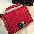 2016 nueva venta caliente arriveal mujeres bolsa de hombro v tipo de cuero de la pu mujeres de la manera cadenas del bolso crossbody bolsa de mensajero de bloqueo