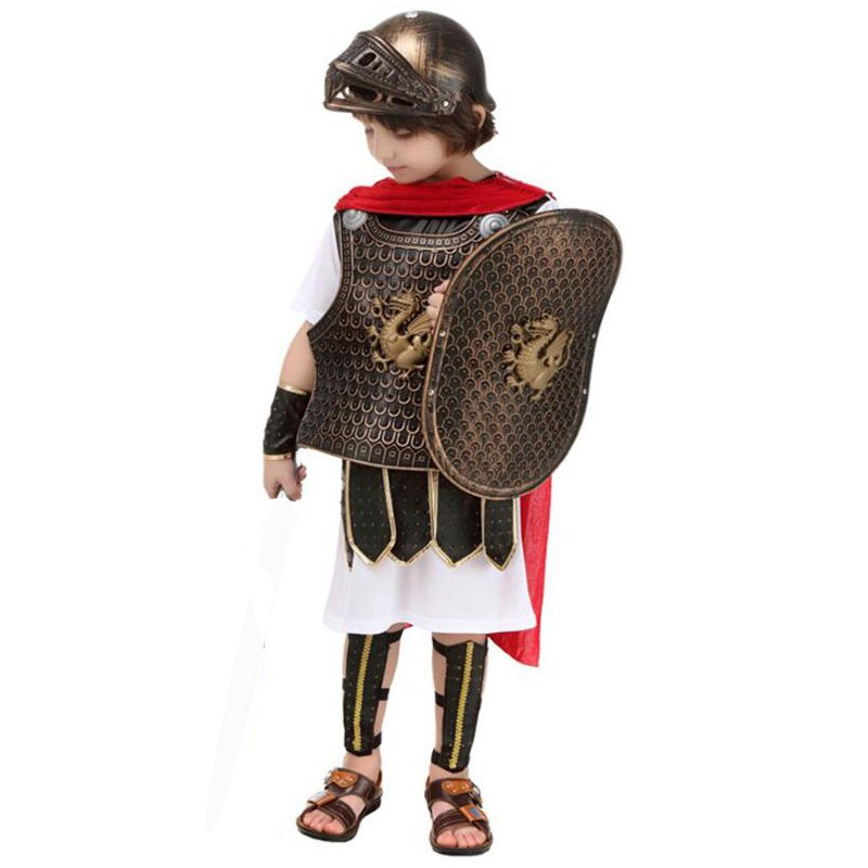 Halloween Cosplay Party Costumes Roman Knight Warrior Cosplay Costume Masquerade Children Party Costume Contains without Sword