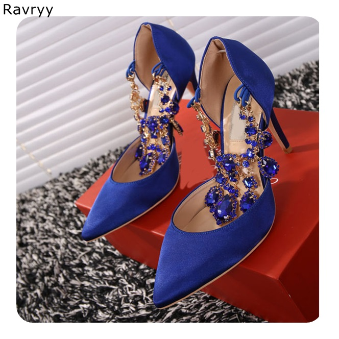 Bling Bling Crystal Blue green Pointed Toe Woman sandals nice rhinestone high heels sexy pumps female wedding party dress shoes