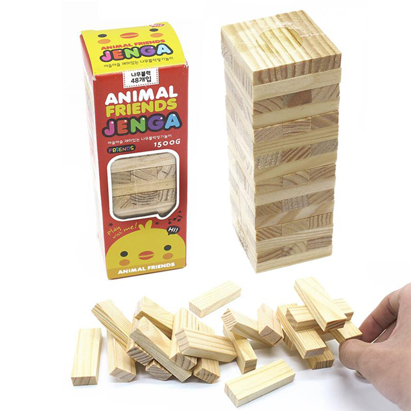 48pcs Mini Wooden Tower Toy Wood Building Blocks Tumbling Stacking Jenga Extract Building Educational Family Party Game Baby Toy funny falling tumbling monkey parenting family interactive toy
