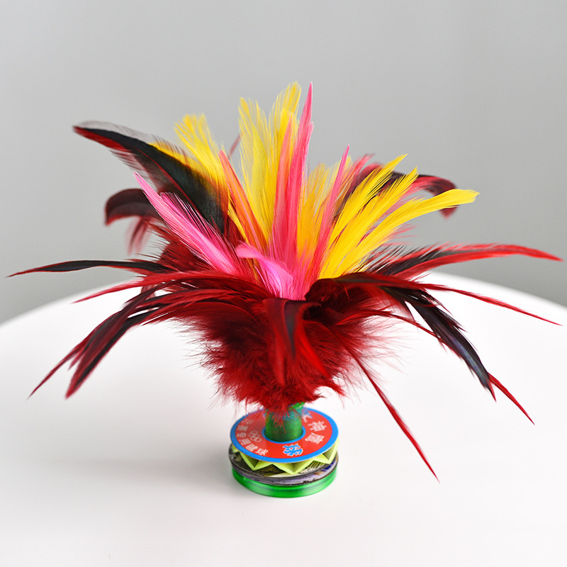 Colorful Feather Shuttlecock China Jianzi Foot Kick Hand Wheel Fancy Goose Feather Shuttlecock Fitness Entertainment 15