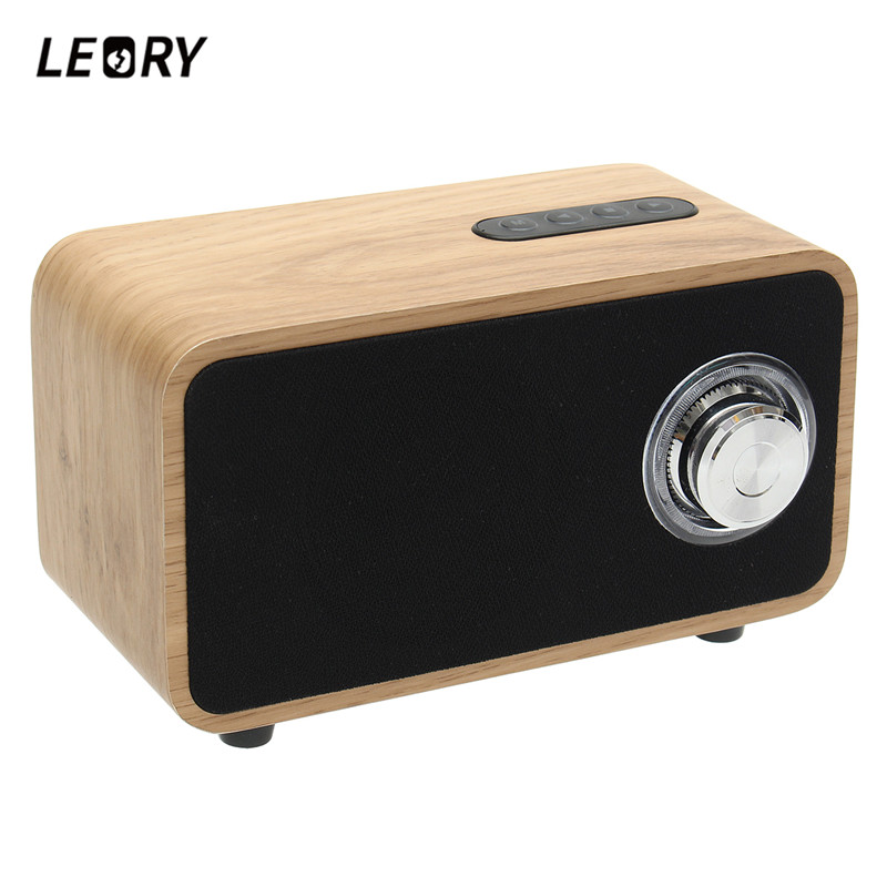 LEORY Mini Portable Bluetooth Speaker 15W 2200mah Desktop Wooden Wireless Speaker FM Radio TF MP3 Support Stereo Speaker