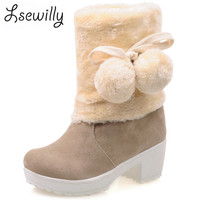 Sweety Princess Cute Girl Style Charm Simple Slip On Warm Woman Ankle Boots Shoes Woman Med