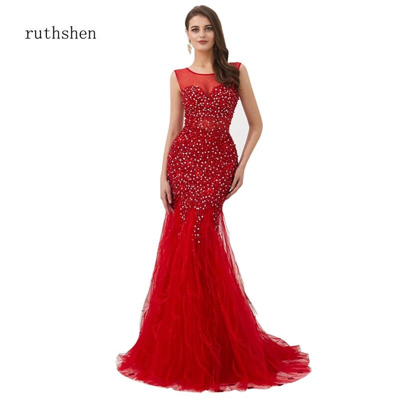 ruthshen Vestido de festa Burgundry Handwork   Evening     Dress   U-back Sequined Sparkle Beaded Prom Mermaid   Dress   Long Feather Train