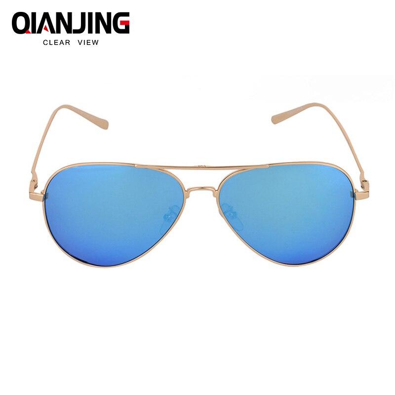 QianJing Pilot classic HD polarized metal frame fashion sunglasses classic design women men feminin brand oculos vintage glasses