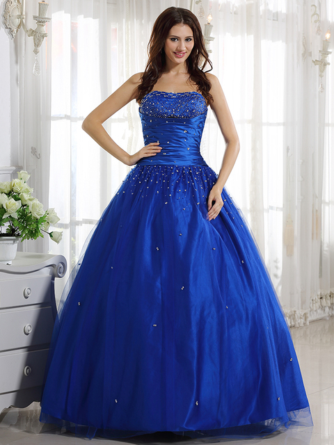 US6 Clearance In Stock Gorgeous Royal Blue Ball Gown Tulle Prom ...