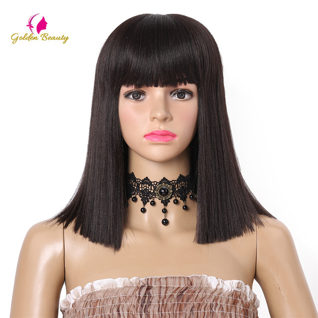 14inch Straight Wig with Bangs for Black Women Synthetic Blue Red Blonde Wig  Short Bob Wigs for Women Golden Beauty d17e3b28cb8b