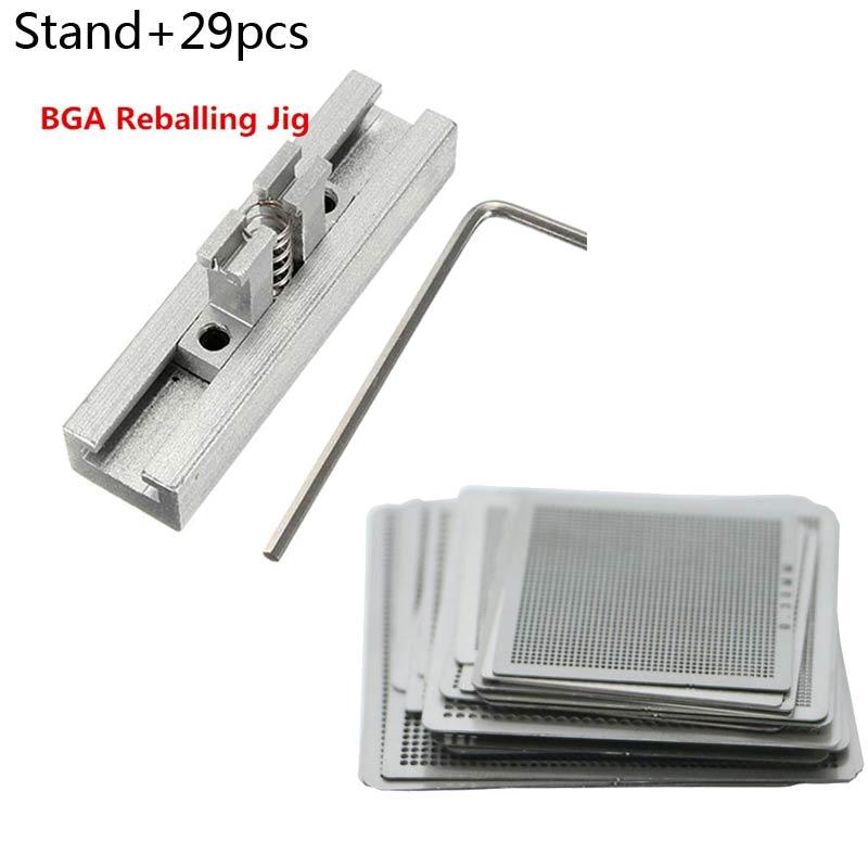 29 pces diretamente calor bga reball reballing net universal stencils modelo conjunto kit de solda de aço prata fluxes com suporte