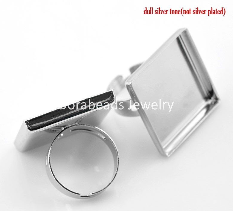 Lovely 10PCs Silver Tone Adjustable Square Cabochon Setting Ring Blank Findings 18.7mm(US 8),(Fit 25x25mm) (B21493)