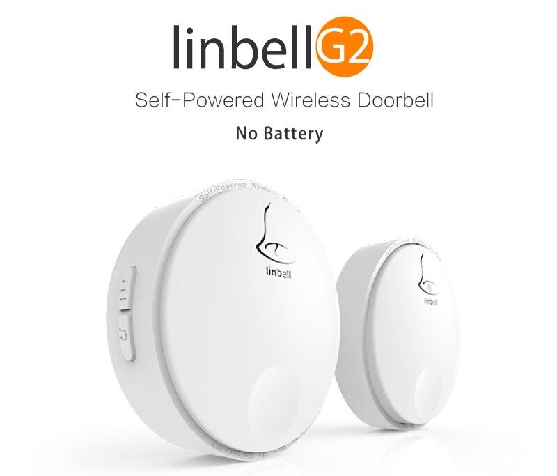 Linptech Linbell G2 wireless bell 2 receivers 2 transmitters Waterproof smart home door bell 220v 2 door bell buttons 2 receiver 2 receivers 60 buzzers wireless restaurant buzzer caller table call calling button waiter pager system