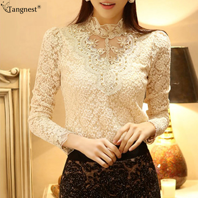 b915008329 TANGNEST Women Blouse 2017 New Lace Beading Turleneck Shirt Beige Black  Tops Shirts Blusas De Renda Feminino WCL793-in Blouses & Shirts from  Women's ...