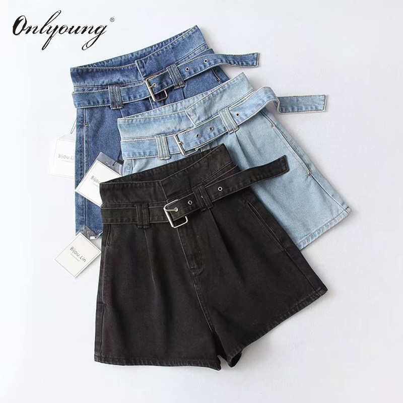 Onlyoung 2019 Summer Women High Waist Jeans Shorts Streetwear Vintage Cotton Shorts Belted Blue Black Sexy Female Denim Shorts
