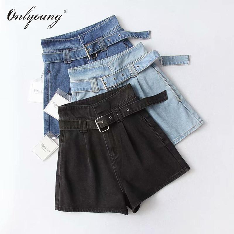 Onlyoung 2019 Summer Women High Waist Jeans Shorts Streetwear Vintage Cotton Shorts Belted Blue Black Sexy Female Denim Shorts