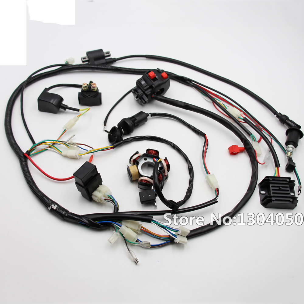 Full Electric Gy6 125 150cc Loom Magneto Stator Solenoid Atv Wiring Harness Complete Coil Regulator Cdi Quad 6