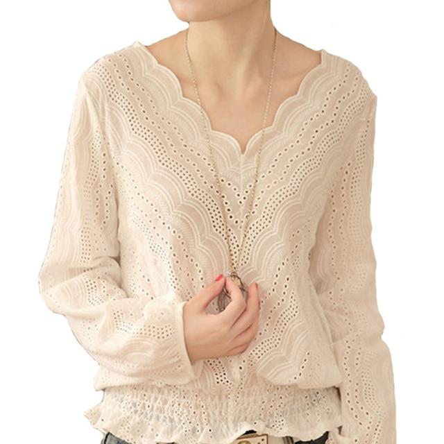Blusas Femininas 2017 Spring Autumn Women Fashion blusas Hollow out Lace Blouse Long Sleeve Sexy Loose White Tops Shirt A602