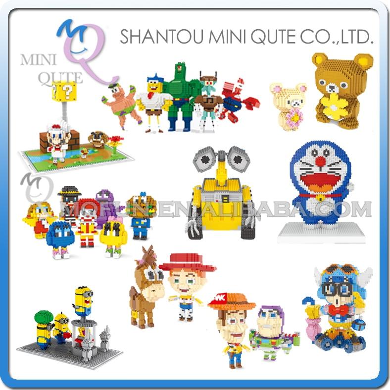 Mini Qute WISE HAWK Diamond Anime huge mario Arale Doraemon Wall-E plastic building block model action figures educational toy