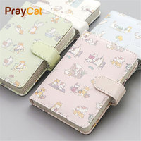 48K Pocket Notebook Diary Pu Leather Kawaii Mini Cute Cat Notepad Lined Pages Travel Journal Stationery