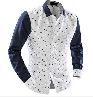 Fashion Men Shirt  Printting Moon Pattern Shirts Stitching Shirt Long-Sleeves Summer Casual Slim Shirts 7635