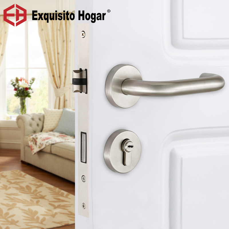 Stainless Steel 304 Indoor Bedroom Room Door Handle Lock General Type Simple Silent Large Solid Wood Steel Door Lock europe standard 304 stainless steel interior door lock small 50size bedroom big 50size anti shelf strength handle lock