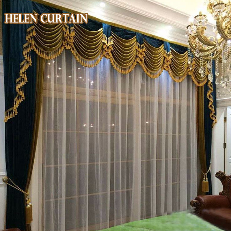 Set!3 styles luxurious curtains for living room with valance <font><b>Italian</b></font> velvet blackout Europe curtains for bedroom customize 05