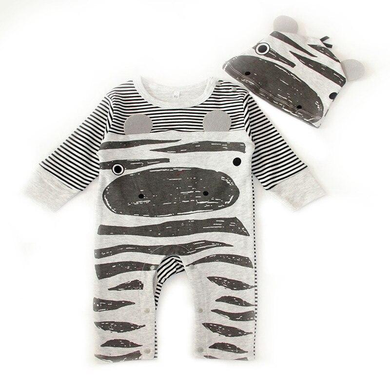 2PCS Baby Girls Clothes Cute Cartoon Animal Newborn Jumpsuits Ropa Bebes Baby Boy Girl Clothing Set Romper+Hat