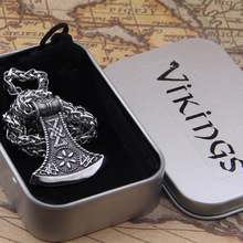 Dropshiping new arrival stainless steel Viking Axe rune pendant necklace men gift