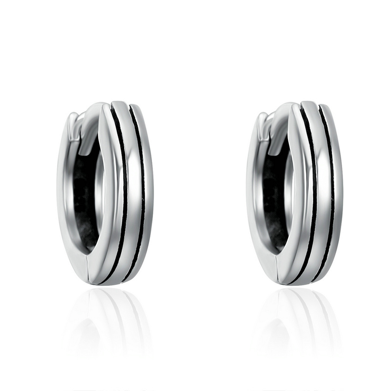 SHIQIER Classic S925 925 Sterling Silver Hiphop Round Rock Earrings for Lady Genuine Silver Jewelery Gift
