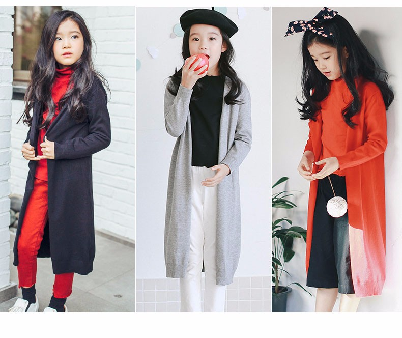 2017 new knitted girls cardigan coats spring autumn long knitting baby big girls sweater red gray black long tops knit sweater  2017g 5 6 7 8 9 10 11 12 13 14 15 16 years old little big teenage girls kids cardigan sweaters (32)
