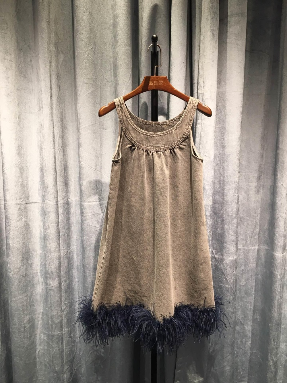 2019 high quality ladies casual sexy ostrich hair denim vest short female dress 0313