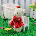 Beautiful mini soft model PP cotton jointed teddy bear new style flower bouquets plush toys dolls for promotional gift