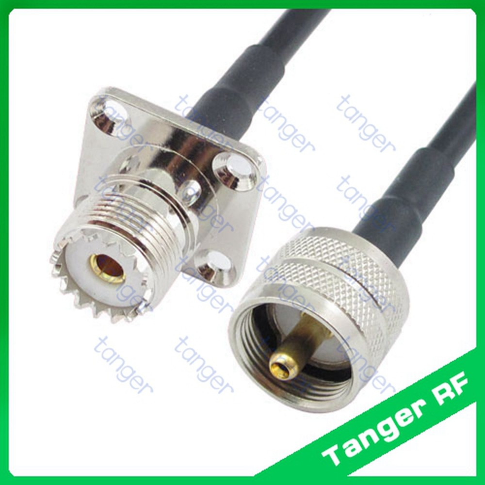 все цены на Hot sale UHF male plug PL259 SL16 to UHF female 4four hole panel SO239 straight RF RG58 Pigtail Jumper Coaxial Cable 3feet 100cm