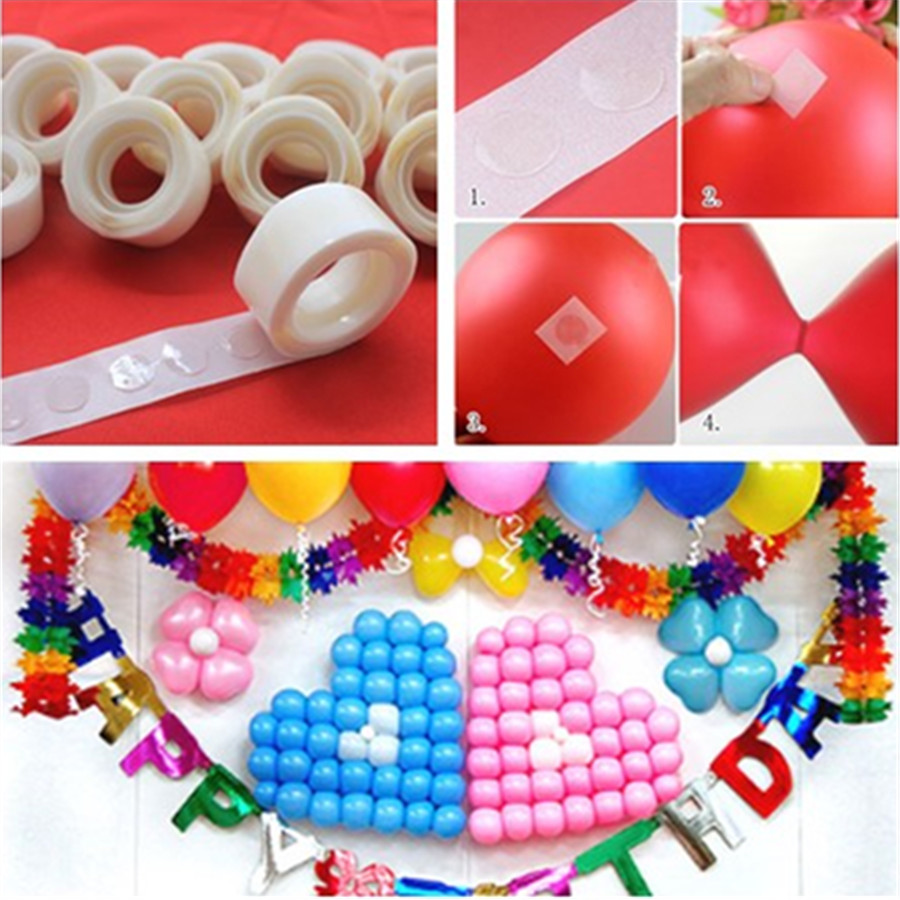 Hot Selling <font><b>100Pcs</b></font>/Lot Removable Balloon Glue Wedding Birthday Decoration Attachment Glue <font><b>Foil</b></font> Balloons Party Supplies For Kids image
