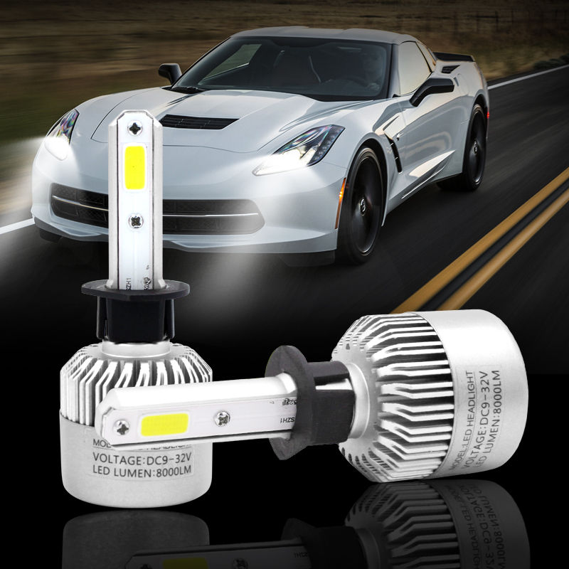 2Pcs S2 H1 LED Bulb Super Bright Auto Car Headlight 72W 8000LM 6500K 12V 24V Single Beam All In One COB Chip Automobiles Lamp