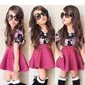 1-5 Anos de Bebê Meninas Conjunto de Roupas Crianças Da Menina Da Criança Verão roupas Da Moda Blusa Floral + Saia Meninas Roupas Rosa Vermelha conjunto