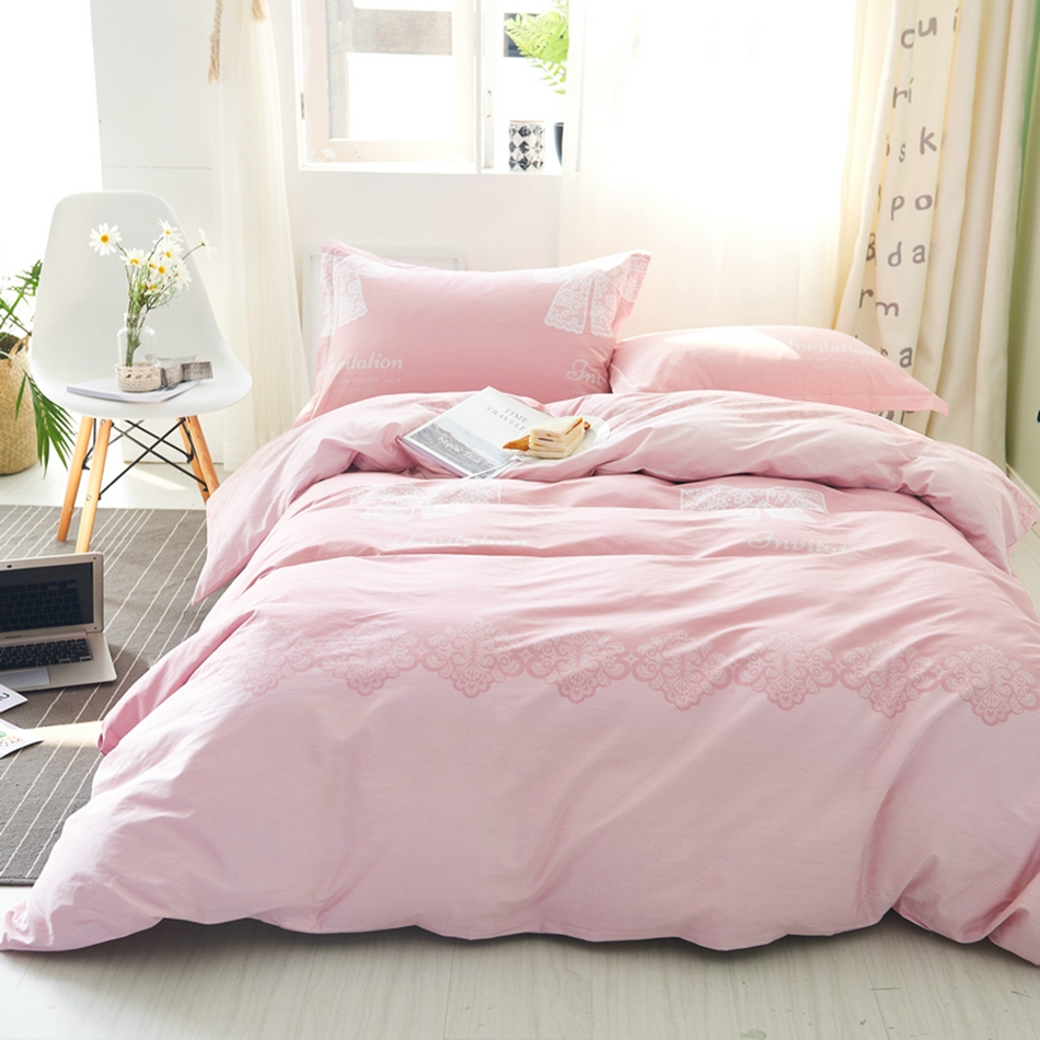 Pink Duvet Cover Set 100 Cotton Girls Duvet Cover White