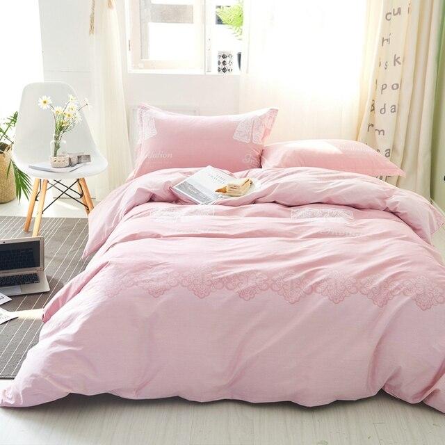 Pink Duvet Cover Set 100 Cotton S White Solid Color Bed Sheets Soft