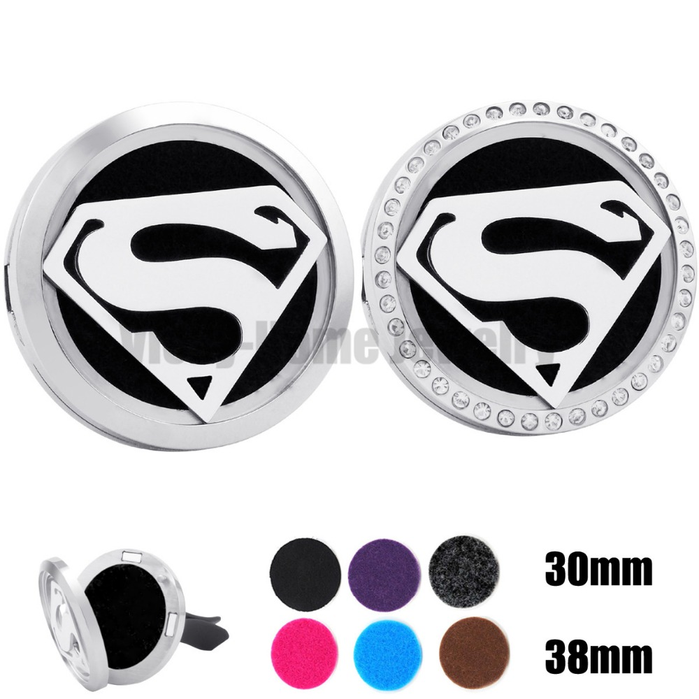 Silver Superman (30mm-38mm) Magnet Diffuser 316 Stainless Steel Car Aroma Locket Free Pads Essential Oil Car Diffuser Lockets 30mm yl logo magnet 316 stainless steel car aromatherapy locket free pads essential oil car perfume lockets drop shipping